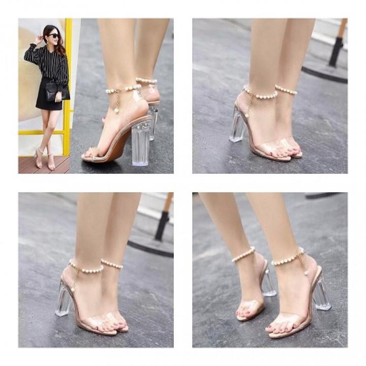 Giày gót vuông quai ngang vòng tròn
