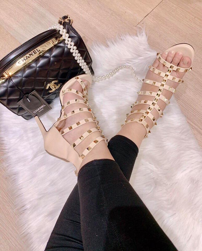 Giày cao gót rọ - Cao 9cm, quai mềm, đế êm, đinh tán đẹp