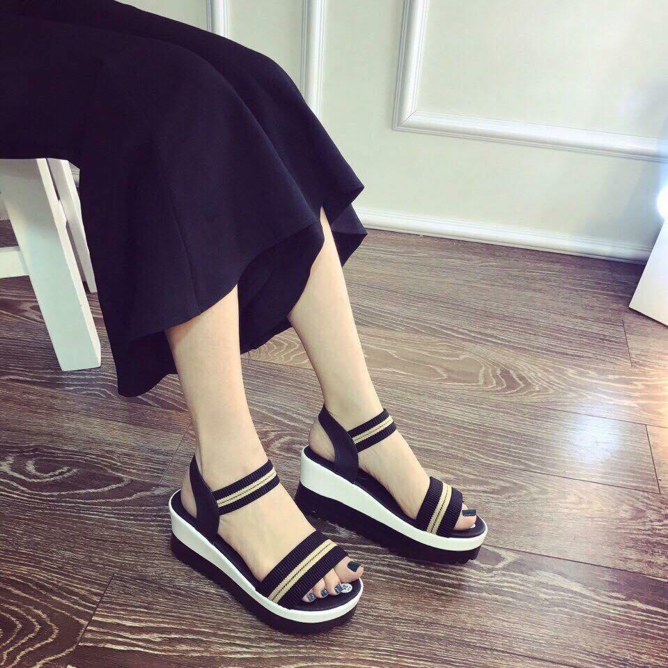 giay sandal quai ngang thun 5cm