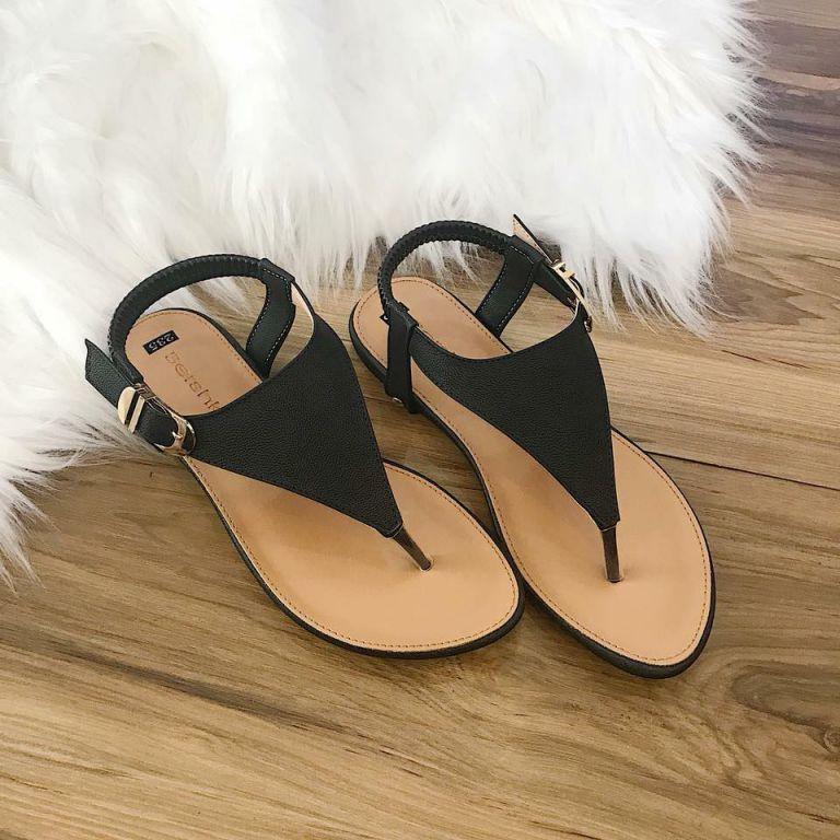 Giày sandal nữ tam giác màu đen
