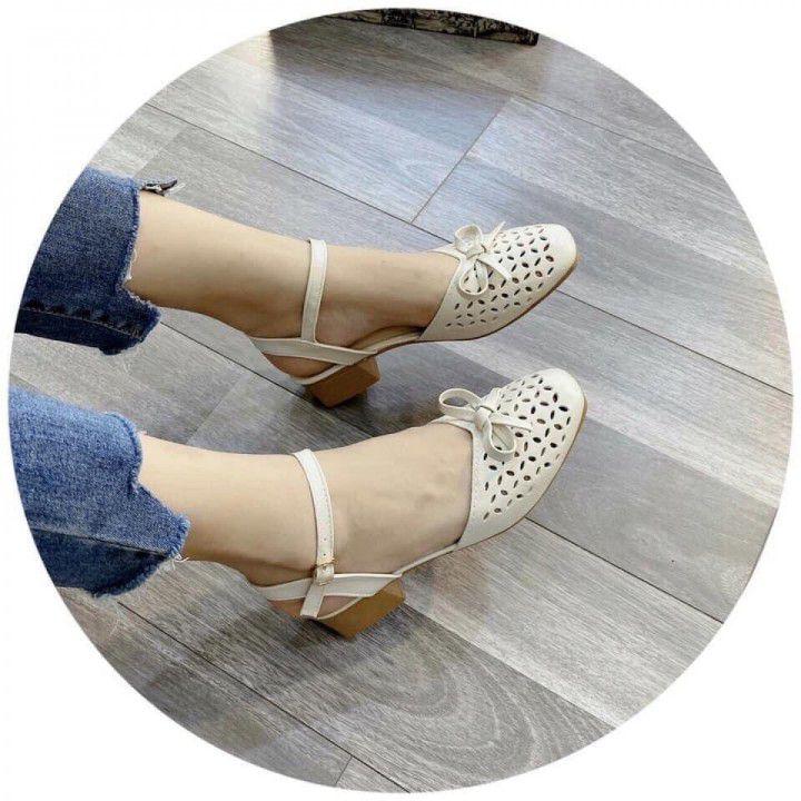 Giày gót vuông lazer