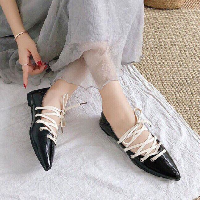 Giày Búp Bê Cột Dây Chiến Binh
