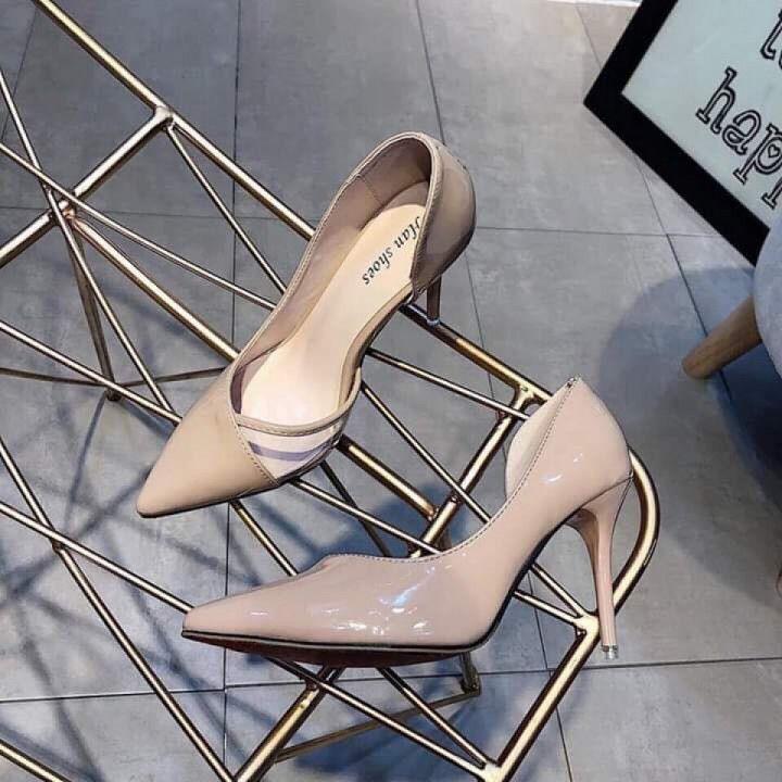 Giày cao gót khoét eo da bóng