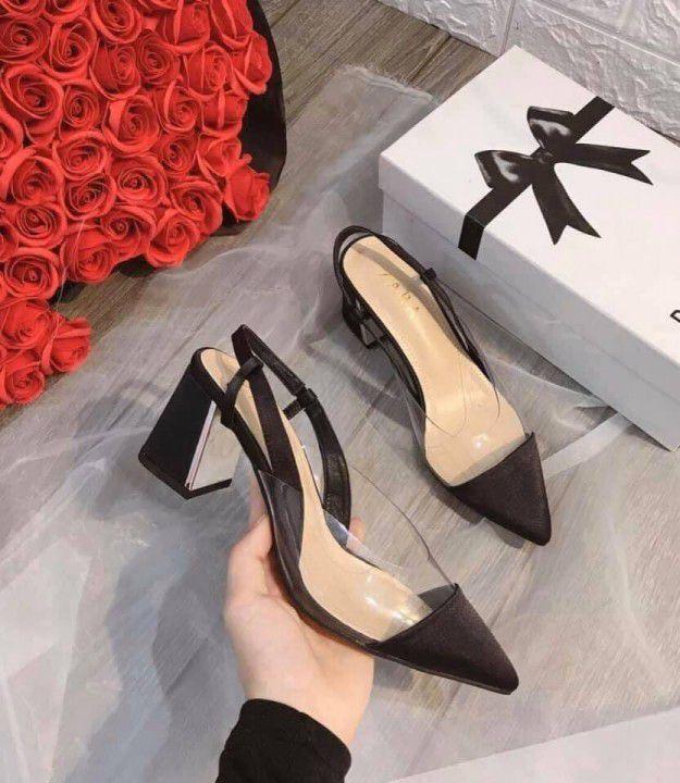 Giày Gót Vuông Mũi Nhọn 7cm