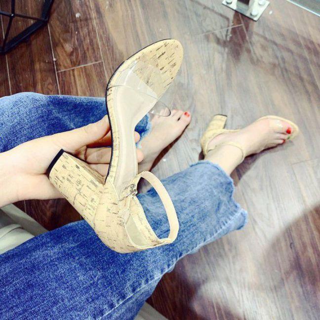 Giày Gót Trụ Quai Ngang