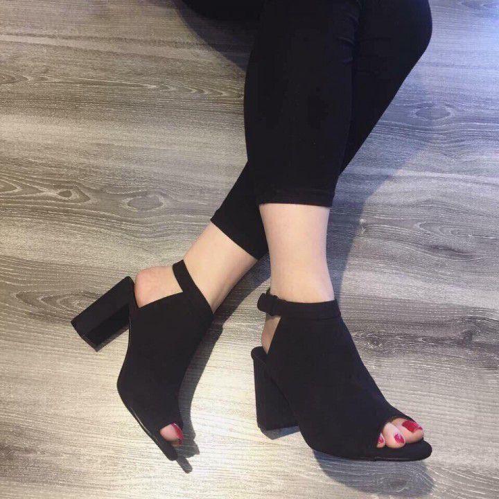 Giày Gót Vuông Nhung