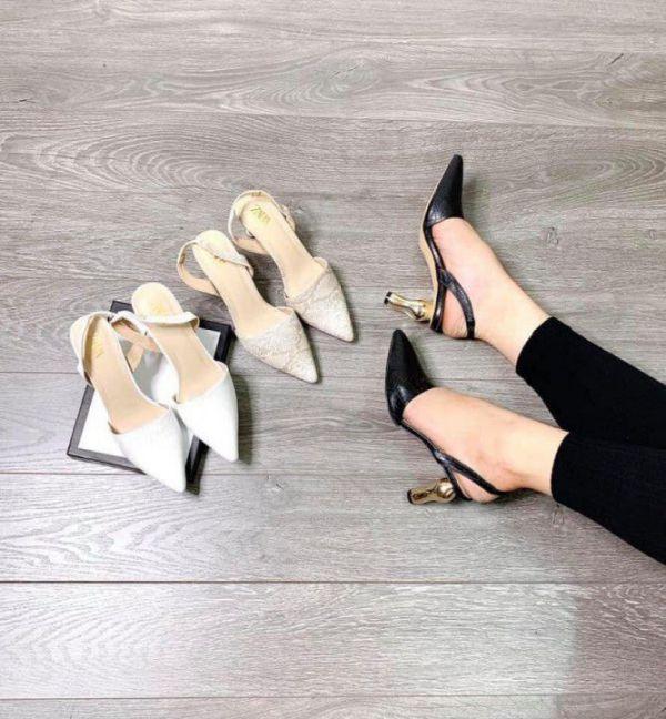 Giày Cao Gót Đẹp Phối Da Rắn