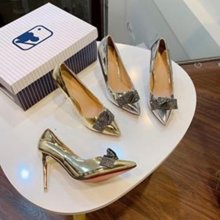 Giày cao gót nơ xếp cao 7cm | Đế êm, chất mica mềm, quai mềm